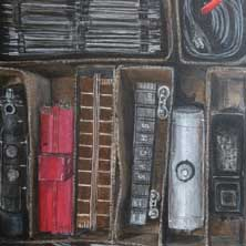 Box of Trains nostalgia still life painting and print by Andy Sachs