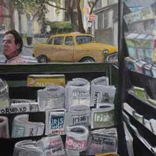 Candy Store Brooklyn NY nostalgia NYC original painting and print by Andy Sachs