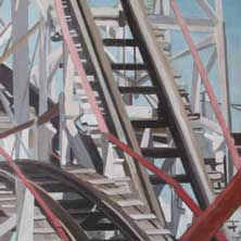 Cyclone Down Coney Island Brooklyn NY roller coaster nostalgia original painting by Andy Sachs