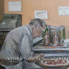 Di Fara Pizza Brooklyn NY food original art painting by Andy Sachs