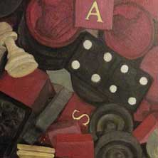 Game Pieces nostalgia chess checkers still life painting and print by Andy Sachs