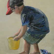 Hawaiian Boy playing on the beach pail and  sand shovel original painting and print by Andy Sachs