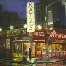 Katz's Deli Lower east Side Manhattan NYC nostalgia food cityscape painting and print by Andy Sachs