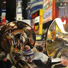 Times Square Tubas NYC fun original painting and print by Andy Sachs