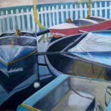 Coney Boats Coney Island Boat Ride Brooklyn NY nostalgia original painting and print by Andy Sachs